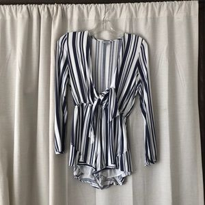 Blue and white stripped romper